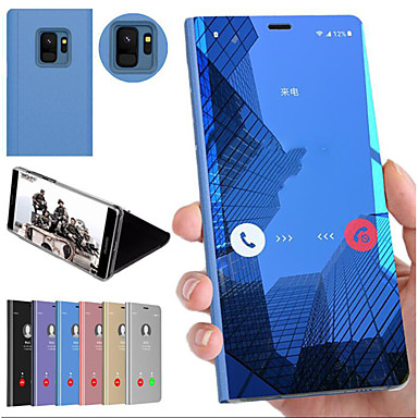ราคาถูก เคสและซองสำหรับ Galaxy S6-Case สำหรับ Samsung Galaxy S9 / S9 Plus / S8 Plus Shockproof / with Stand / Mirror ปกหลัง สีพื้น Hard พีซี