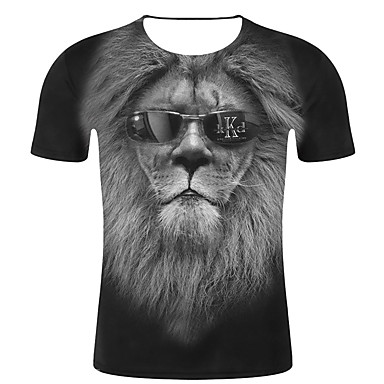 economico Abbigliamento uomo-T-shirt - Taglie forti Per uomo Moda città / Esagerato Con stampe, A strisce / 3D / Animali Rotonda - Cotone Nero XXL