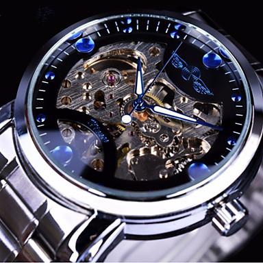 Χαμηλού Κόστους Ανδρικά ρολόγια-WINNER Ανδρικά μηχανικό ρολόι Αυτόματο κούρδισμα Ασημί / Χρυσό Εσωτερικού Μηχανισμού Καθημερινό Ρολόι Μεγάλο καντράν Αναλογικό Μοντέρνα Σκελετός - Λευκό Μαύρο Μπλε