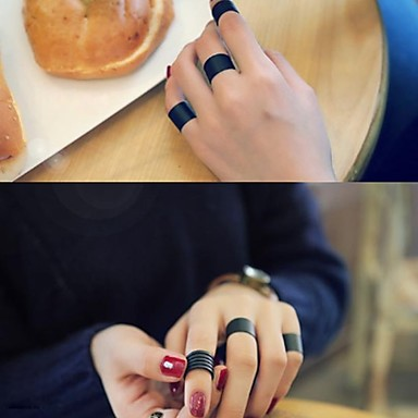 זול טבעות-בגדי ריקוד גברים בגדי ריקוד נשים רטרו קאף טבעת טבעת הגדר פתח את הטבעת מסוגנן פשוט וינטאג' פאנק אופנתי Fashion Ring תכשיטים שחור עבור Party מתנה יומי רחוב פֶסטִיבָל מתכוונן 3pcs / טבעת מתכווננת