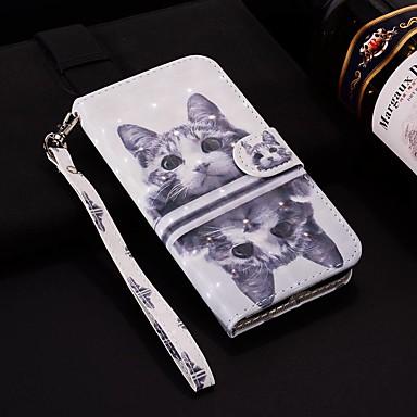 voordelige Huawei Mate hoesjes / covers-hoesje Voor Huawei Huawei Nova 3i / Huawei Nova 4 / Huawei P20 Portemonnee / Kaarthouder / met standaard Volledig hoesje Kat Hard PU-nahka