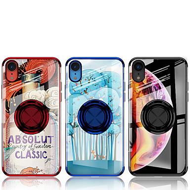Недорогие Кейсы для iPhone-Кейс для Назначение Apple iPhone XR Защита от удара / Кольца-держатели / Магнитный Кейс на заднюю панель Прозрачный Мягкий силикагель