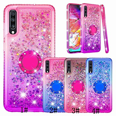 voordelige Galaxy A-serie hoesjes / covers-hoesje Voor Samsung Galaxy A6 (2018) / A6+ (2018) / A5 (2017) Schokbestendig / Strass / Stromende vloeistof Achterkant Glitterglans / Kleurgradatie Zacht TPU