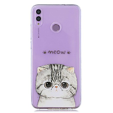 voordelige Huawei Mate hoesjes / covers-hoesje voor huawei honor 8x / huawei p smart (2019) patroon / transparante achterkant kat zachte tpu voor mate20 lite / mate10 lite / y6 (2018) / p20 lite / nova 3i / p smart / p20 pro