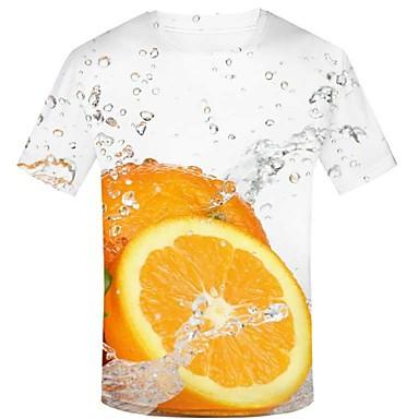 billige Herrers Mode Beklædning-T-skjorte Herre - 3D / Grafisk / Frukt, Trykt mønster Gatemote / overdrevet Hvit XXL