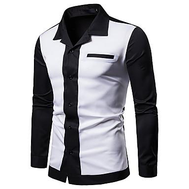 رجالي كتان قميص نحيل الأعمال التجارية / أساسي بقع لون سادة / ألوان متناوبة, عمل / نادي برتقالي L / كم طويل