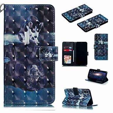 voordelige iPhone 6 hoesjes-hoesje voor apple iphone xr / iphone xs max flip / met standaard / schokbestendig full body cases cartoon / hond hard pu leer voor iphone 6 / 6s plus / 7/8 plus / xs / x