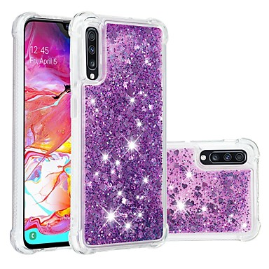 voordelige Galaxy A-serie hoesjes / covers-hoesje Voor Samsung Galaxy A6 (2018) / A6+ (2018) / Galaxy A7(2018) Schokbestendig / Stromende vloeistof / Transparant Achterkant Glitterglans Zacht TPU