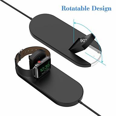 voordelige Apple Watch-bevestigingen & -houders-2 in 1 qi snelle draadloze opladen pad stand iwatch lader voor apple horloge serie 2/3 iphone x 8 8 plus samsung galaxy note qi apparaat