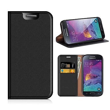 Недорогие Чехлы и кейсы для Galaxy S4 Mini-Кейс для Назначение SSamsung Galaxy S4 Mini Кошелек / Бумажник для карт / Защита от пыли Чехол Однотонный Твердый Кожа PU / ТПУ