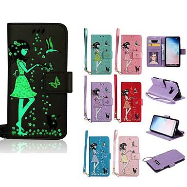 Кейс для Назначение SSamsung Galaxy S9 / S9 Plus / S8 Plus Сияние в темноте / Кошелек / Бумажник для карт Чехол Кот / Соблазнительная девушка Твердый Кожа PU