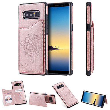 voordelige Galaxy Note-serie hoesjes / covers-hoesje Voor Samsung Galaxy Note 9 / Note 8 Kaarthouder / Schokbestendig / met standaard Achterkant Kat / Boom Hard PU-nahka