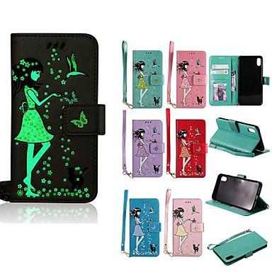 voordelige iPhone 5 hoesjes-hoesje Voor Apple iPhone XS / iPhone XR / iPhone XS Max Glow in the dark / Portemonnee / Kaarthouder Volledig hoesje Kat / Sexy dame Hard PU-nahka