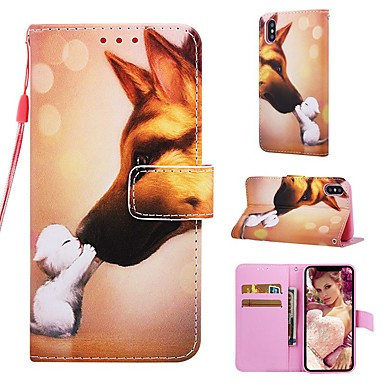 Недорогие Кейсы для iPhone-Кейс для Назначение Apple iPhone XS / iPhone XR / iPhone XS Max Кошелек / Бумажник для карт / со стендом Чехол С собакой Твердый Кожа PU
