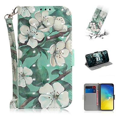 voordelige Galaxy S-serie hoesjes / covers-hoesje Voor Samsung Galaxy S7 edge / S7 / Galaxy S10 Portemonnee / Kaarthouder / met standaard Volledig hoesje Bloem PU-nahka