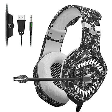 Недорогие Наушники для геймеров-Onikuma K1 Pro игровая гарнитура для мобильных игровых гарнитур киберспорт с микрофоном стерео объемного USB-гарнитура для ПК и ноутбука