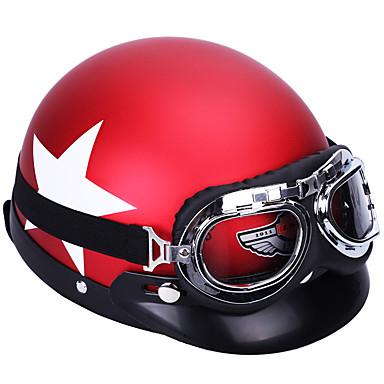 voordelige Motorhelmen-unisex motorhelm met bril afneembaar vizier witte sterpatroon helm