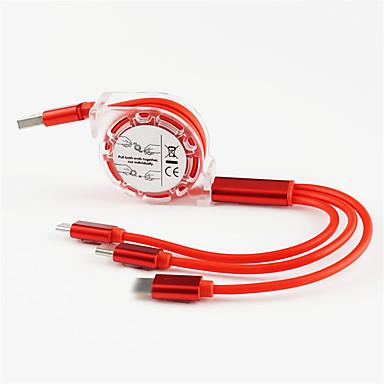 povoljno Mac kabeli-Micro USB / Rasvjeta / Tip-C Kabel 1.0m (3ft) Preklopni / 1 do 3 / High Speed TPE USB kabelski adapter Za Macbook / iPad / Samsung