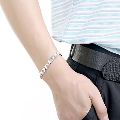 voordelige Heren Armband-Heren Armbanden met ketting en sluiting Cut Out Kostbaar Standaard Modieus Messinki Armband sieraden Goud / Zilver Voor Dagelijks Werk / Verzilverd / Verguld