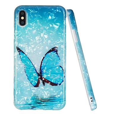 voordelige iPhone X hoesjes-hoesje Voor Apple iPhone XS / iPhone XR / iPhone XS Max IMD / Patroon Achterkant Vlinder / Marmer TPU