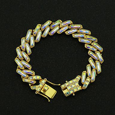 voordelige Heren Armband-Heren Helder Vintage Armbanden Oorbellen / armband Retro Lucky Vintage Punk modieus Koreaans Modieus Gesimuleerde diamant Armband sieraden Wit / Regenboog Voor Dagelijks