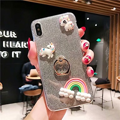 voordelige iPhone 5 hoesjes-hoesje Voor Apple iPhone XS / iPhone XR / iPhone XS Max Ringhouder / Transparant / Patroon Achterkant Transparant / 3D Cartoon / Glitterglans TPU