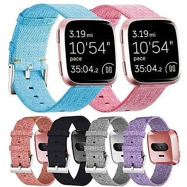 cheap Smartwatch Accessories-Watch Band for Fitbit Versa Fitbit Classic Buckle Fabric Wrist Strap