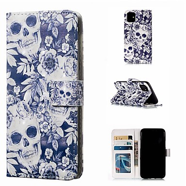 voordelige iPhone 7 hoesjes-hoesje Voor Apple iPhone 11 / iPhone 11 Pro / iPhone 11 Pro Max Portemonnee / Kaarthouder / Flip Volledig hoesje Doodskoppen PU-nahka