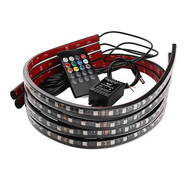 voordelige Autobinnenverlichting-auto decoratief licht kleurrijke draadloze afstandsbediening muziek geluid controle lamp omgevingslicht chassis licht 90 * 120cm