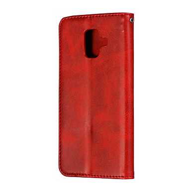 voordelige Galaxy A-serie hoesjes / covers-hoesje Voor Samsung Galaxy A8 / A7 / Galaxy A30 (2019) Kaarthouder / Magnetisch Volledig hoesje Effen PU-nahka / PC