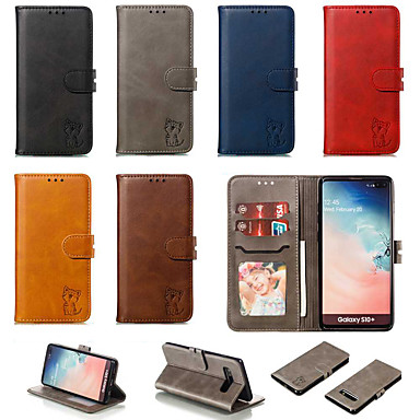 voordelige Galaxy S-serie hoesjes / covers-hoesje Voor Samsung Galaxy S9 / S9 Plus / S8 Plus Portemonnee / Kaarthouder / met standaard Achterkant / Volledig hoesje Effen / Kat PU-nahka