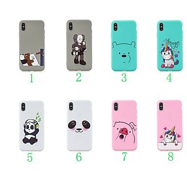 voordelige iPhone 5 hoesjes-hoesje Voor Apple iPhone XS / iPhone XR / iPhone X Ultradun / Patroon Achterkant dier / Cartoon / Panda TPU