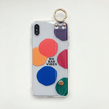 voordelige iPhone 6 Plus hoesjes-hoesje Voor Apple iPhone XS / iPhone XR / iPhone XS Max met standaard / Ultradun / Patroon Achterkant Transparant / Geometrisch patroon TPU