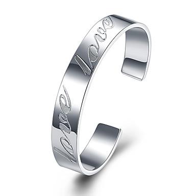 voordelige Heren Armband-Heren Cuff armbanden Cut Out Liefde Kostbaar Eenvoudig Modieus Koper Armband sieraden Zilver Voor Dagelijks Straat