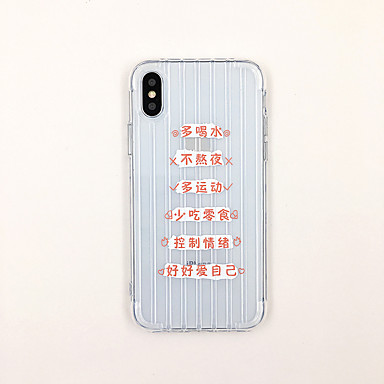 voordelige iPhone X hoesjes-hoesje Voor Apple iPhone XS / iPhone XR / iPhone XS Max Ultradun / Transparant / Patroon Achterkant Woord / tekst / Transparant TPU