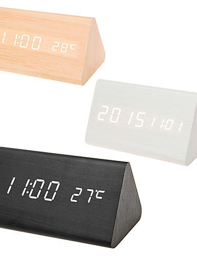 Χαμηλού Κόστους Διακόσμηση Σπιτιού-πολύχρωμοι ήχοι έλεγχος ξύλινο ρολόι νέο μοντέρνο ξύλο ψηφιακή οδήγησε γραφείο ξυπνητήρι θερμόμετρο χρονοδιακόπτη ημερολόγιο πίνακας ντεκόρ