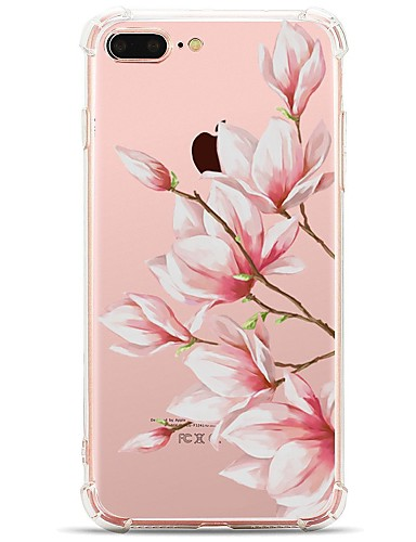 cheap iPhone Cases-Case For Apple iPhone X / iPhone 8 Transparent / Pattern Back Cover Flower Soft TPU for iPhone X / iPhone 8 Plus / iPhone 8