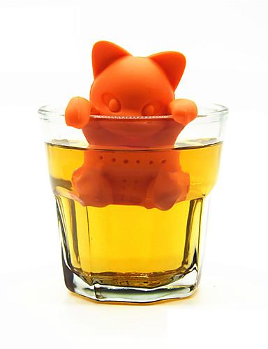 رخيصةأون أدوات الشاي و القهوة-الكرتون القط الشاي مصفاة سيليكون الشاي infuser لطيف أدوات الشاي القط