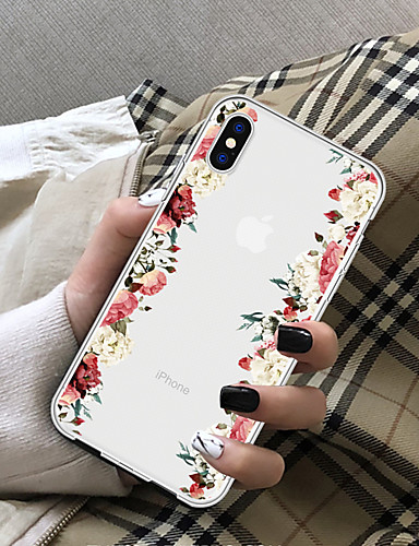 cheap iPhone Cases-Case For Apple iPhone X / iPhone 8 Plus Transparent Back Cover Flower Soft TPU for iPhone X / iPhone 8 Plus / iPhone 8