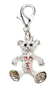 Dog tags Rhinestone Decorated Small Bear Style Collar Charms for Dogs Cats