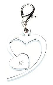 Cat / Dog Tag Heart Shaped / Rhinestone Silver Metal