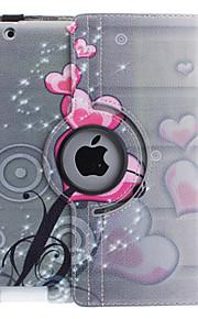 Case Kompatibilitás iPad 4/3/2 Állvánnyal 360° forgás Héjtok Szív PU bőr mert iPad 4/3/2