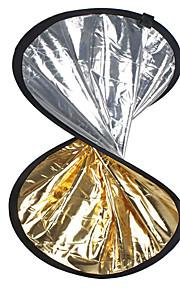 """24 """"2 in1 prata dourada disco refletor dobrável 60 centímetros"""