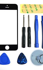 Reparatie LCD front screen-Glass lens deel met 3M Sticker en Montagegereedschap voor de iPhone 5 (Zwart)