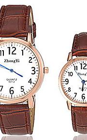 Homens Mulheres Casal Quartzo Relógio Casual Couro Banda Amuleto Preta Branco Marrom