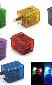glitter LED knippert muur thuis licht reizen dual usb 2-poort opladen lader adapter voor samsung / iphone ons