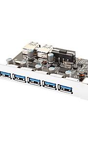 7-Port Superspeed USB 3.0 PCI-E Express uitbreidingskaart met 5V 4-pins power connector voor Desktops