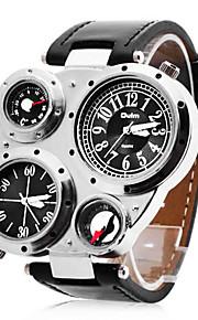 Spersonalizowane Prezent Zobacz, Dwie strefy czasowe Kwarc japoński Zobacz z Stop Materiał obudowy PU Pasmo Wojskowy Wodoodporność Głębokość