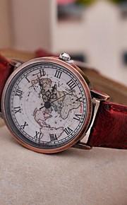 Mulheres Relógio de Moda Quartzo PU Banda Vintage Padrão Mapa do Mundo Preta Vermelho Marrom