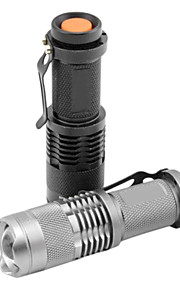 SK68 LED Flashlights / Torch LED 1200 lm 1 Mode Cree XR-E Q5 Zoomable Adjustable Focus Waterproof Multifunction Black Silver Iron